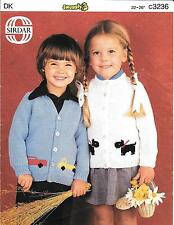 "Sirdar 3236 Vintage Knitting Pattern Boys/Girls Cardigan 22-26"" DK Car Dog Truck"