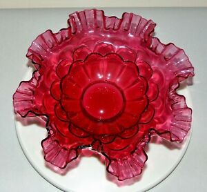 Vintage FENTON Ruffled CRANBERRY GLASS Bowl