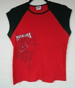 Metallica Giant Brand Red and Black Dragon Sleevless Juniors Shirt Top Size L/XL