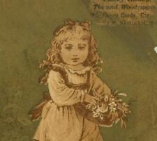Flower Girl Mrs. L.D. Bettridge Fancy Goods Nantucket MA Victorian Trade Card