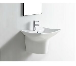 Modern Wall Hung Semi Pedestal Concealed Basin Size: 480*370*365mm