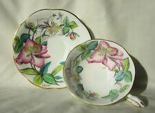Rosina Tea Cup and Saucer Pink White Flowers Floral 1940s Signed A Bentley 4855