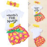 Summer Baby Girls Short Sleeve Romper Fruit Print Short Pants Hairband Outfits