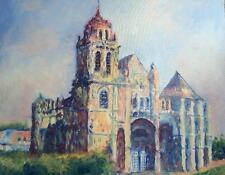 Huile sur toile Eglise de  Gisors de Christian Coleau