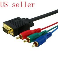 VGA TO RGB RCA VIDEO MONITOR ADAPTER CABLE COMPUTER CONNECTOR HDTV US SELLER