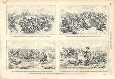 Bataille de Gravelotte Saint-Privat d'Amanvillers Metz Chasseurs GRAVURE 1873
