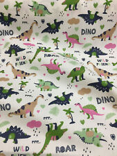 Ivory Dinosaur Childrens Printed 100% Cotton Poplin Fabric.