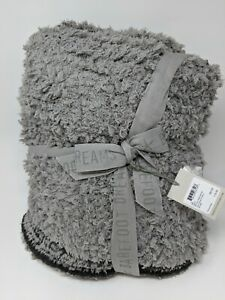 Barefoot Dreams Cozy Chic Loop Fringe Throw Blanket Carbon/ Dove Gray 45x60