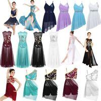 Girl Kids Sequin Ballet Leotard Dance Dress Skating Ballerina Dancewear  Costume