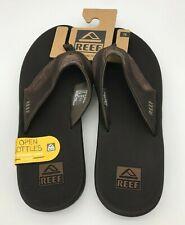 Reef Men's Leather Fanning Sandal, Brown, 12 M US