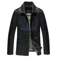 Men Retro Real Leather Jacket Solid Dad Coat Warm Casual Trench Outwear Overcoat