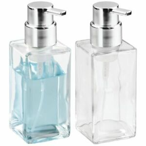 mDesign Glass Refillable Foaming Soap Dispenser Pump, 2 Pack - Clear/Chrome