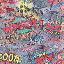 Comic Book Style Wallpaper Multi Words on Cracked Stone Effect 05588-10