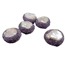 5 pcs Coin Shape Cultured Purple Pearl Crystal Pave Spacer Beads Findings