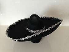 Black Silver Trim Mexican Sombrero Hat Spanish Fiesta Party Bandit Costume