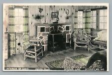 Cabin Interior—Spooner Lake RPPC Indian Hills—Vintage Wisconsin Photo 1950s