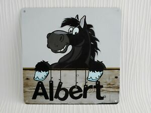 Stable Door Name Plate Personalised Sign Metal Horse Pony Plaque Black