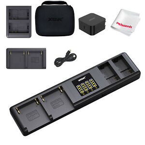 XTAR SN4 Camera Battery Charger PD 45W NP-F970 + EN-EL15 Docks up to 4 Batteries