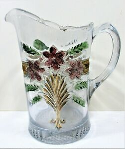 UNCOMMON EAPG NORTHWOOD FLASHED COLORS LILY? AND GILDED CHAIN PITCHER