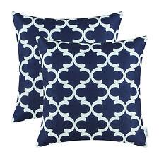 2Pcs Navy Blue Cushion Covers Pillows Shells Accent Geometric Home Decor 50x50cm