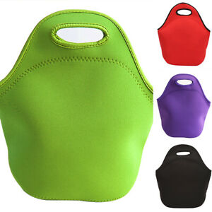 Adult Kids Thermal Insulated Picnic Lunch Cool Bag School Box Solid Food Handbag