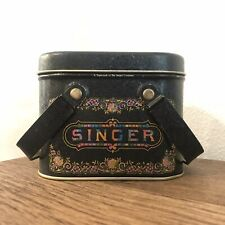 Vintage The Singer Co. Sewing Tin Handles Buttons Storage Bobbins Notions Lid