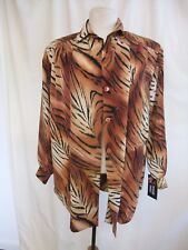"Ladies Blouse Maggie Sweet size M, pit2pit 23"", brown tiger print polyester 0991"