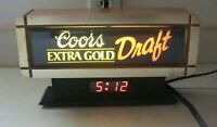 Vintage 1990's Beer Bar Sign Display Cash Register CLOCK - Coors Extra Gold -