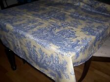 Waverly Tablecloth BLUE YELLOW  Country Life Vintage Coll Pastoral Toile Cotton