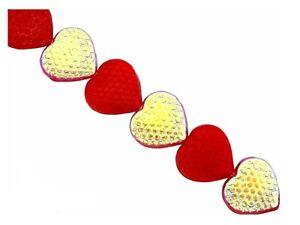 25 Ruby Red AB Preciosa Czech Glass 14mm Honeycomb Texture Heart Beads