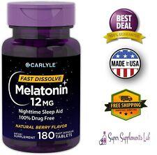 MELATONIN 12mg Fast Dissolve 180 Tablets Nighttime Sleep Aid Berry Flavor