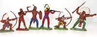 BRITAINS HERALD TOYS - 6 NORTH AMERICAN INDIAN BRAVES - 1960's