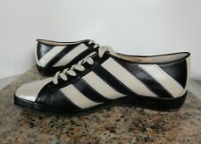 Amalfi Black Taupe Striped Leather Casual Comfort Shoes Sneakers EATON 7.5 M