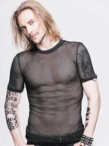 Devil Fashion TT039 Men's mesh t-shirt punk gothic fetish party transparent net
