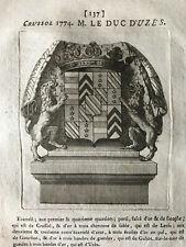 Blason ARMORIAL Languedoc Gastelier de la tour M. Le Duc d'Uzès E. de Crussol
