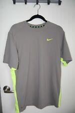 Nike Dri-Fit Mens  L LG GRAY Shirt Neon Yellow short sleeve POLY LOGO ATHLETIC