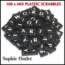 100 x Plastic Scrabble Tiles Letters Numbers Crafts Alphabet Scrabbles BLACK