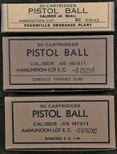 EVANSVILLE ORD  M1911 .45 ACP WW2 NEW REPLICA WARTIME AMMO BOX DISPLAY SET-3 PCS