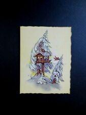 Vintage Unused Xmas Greeting Card Snow Covered Bird House Full of Birds