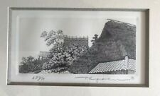 """TANAKA RYOHEI Japanese ETCHING artist proof 9/15 """"Roof"""" signed gallery frame"""