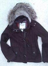 ABERCROMBIE & FITCH JR womens brown toggle coat fur lined hood jacket parka Sz L