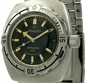RUSSIAN Vostok Amphibia 090679 AUTOMATIC Casual Military Black MEN WRIST WATCH