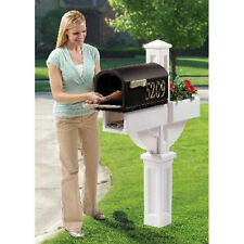 Mailbox Planter Box White Support Post Mounted Cover Flower Pot Newspaper Slot