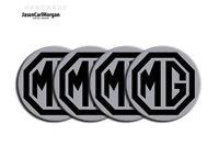 MG TF MGF Car Alloy Wheel Centre Caps Badges Black Silver 55mm Hub Cap Badge Set