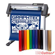"24"" Graphtec CE6000-60 Vinyl Cutter Plotter w/ Stand & BONUS 12-roll Vinyl Pack"