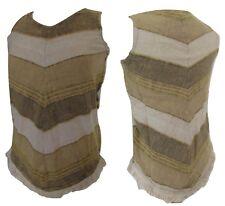 Hippy Cotton Tassle Beige Cream Striped Top T Shirt Dress S M Summer Boho Fest