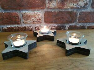 Set of 3 x Star Wooden & Glass Tealight Holders Scandi Rustic Christmas Folk Art