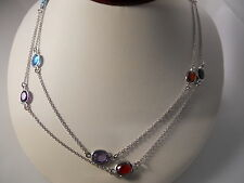 Sterling Silver, Faceted Oval Multi-Gem Station Necklace