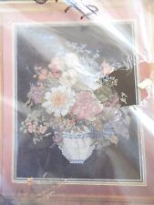 """VTG New Candamar Counted Cross Stitch Kit 50618 """"Mixed Floral on Black"""" 14 x 18"""