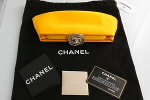 New CHANEL Yellow Satin Clutch With Tags and Papers